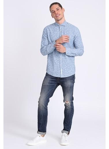 Lufian Uzun Kollu Desenli Slim Fit Gömlek İndigo